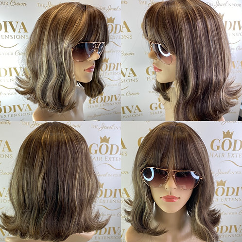 Soft Brown With Caramel Highlights Fibre Wig