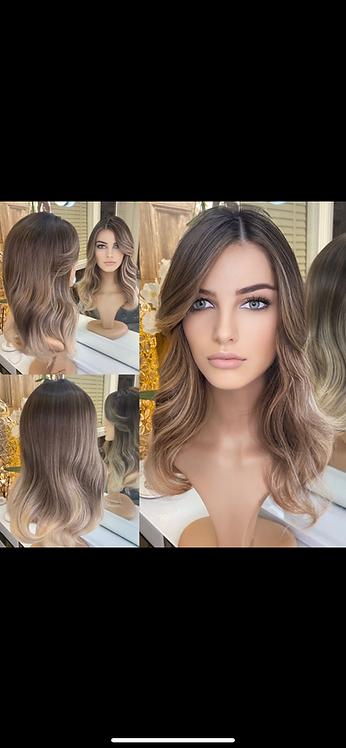 Caramel and Ash Highlighted Wavy Fibre Hair Wig