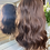 Thumbnail: Chocolate brown wavy fibre wig