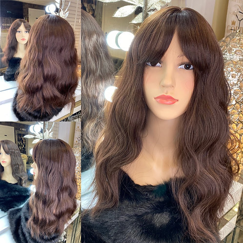 Chocolate Brown/Auborn Fibre Wig