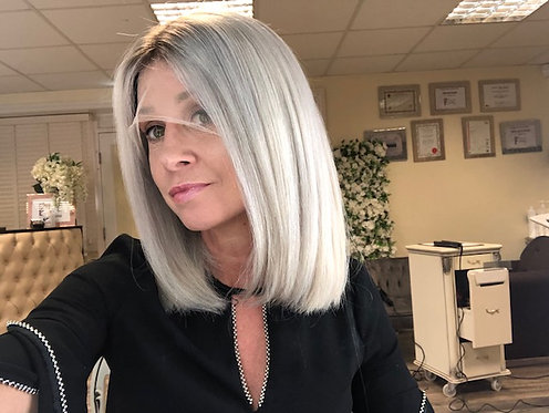 360 Lace handmade wig - Ash Blonde with soft root melt