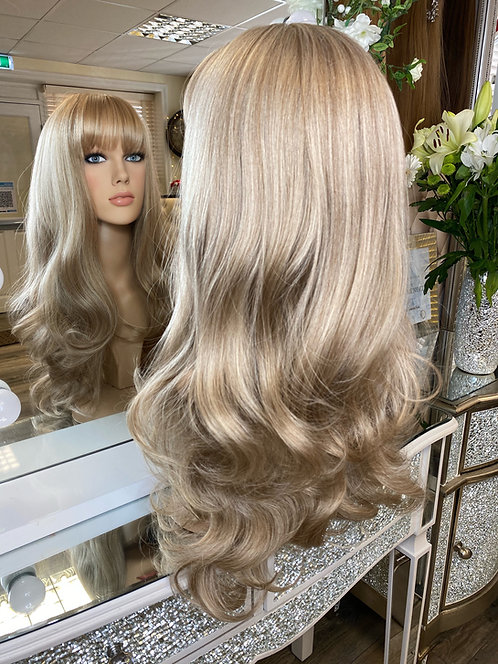 Baby blonde wavy fibre wig with fringe