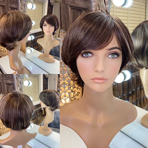 Mousey Brown with Caramel Highlights Pixie Cut Fibre Wig
