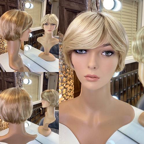 Honey Blonde Swooped Pixie Fibre Wig