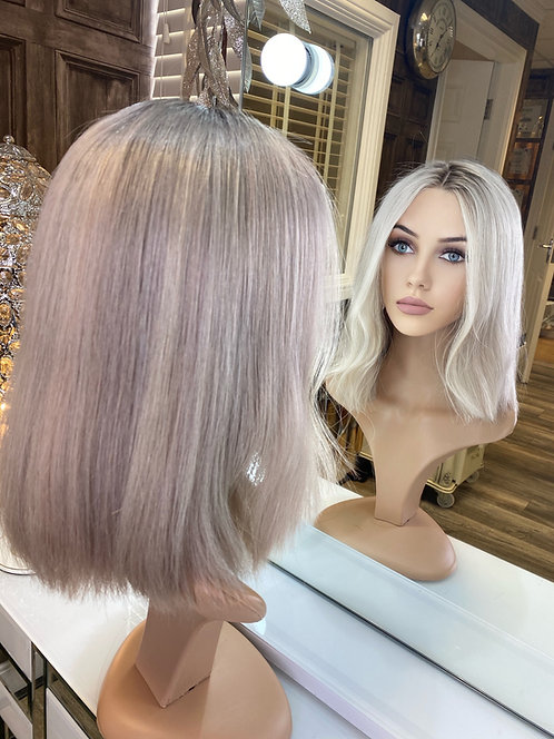 Ash Blonde Bobbed Human Hair Wig