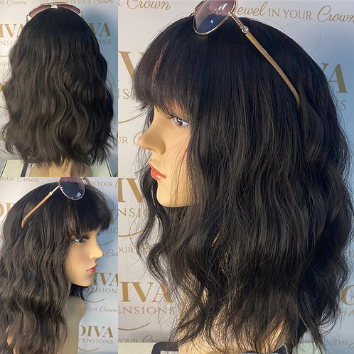 Dark Brown beach weave Fibre Wig