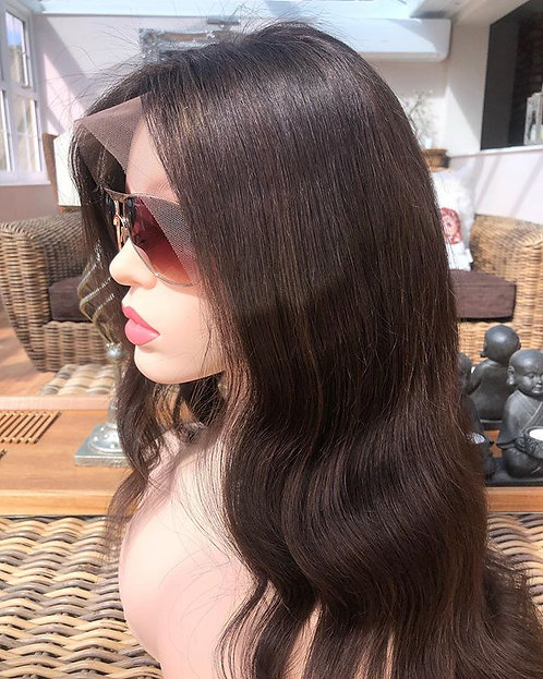 Lace frontal handmade wig -Soft warm brown