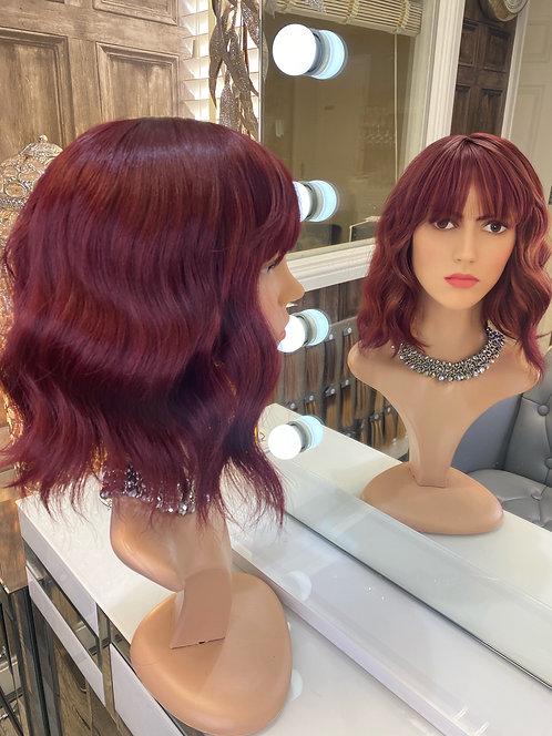 Deep Cherry Red Beach Wave Fibre Wig