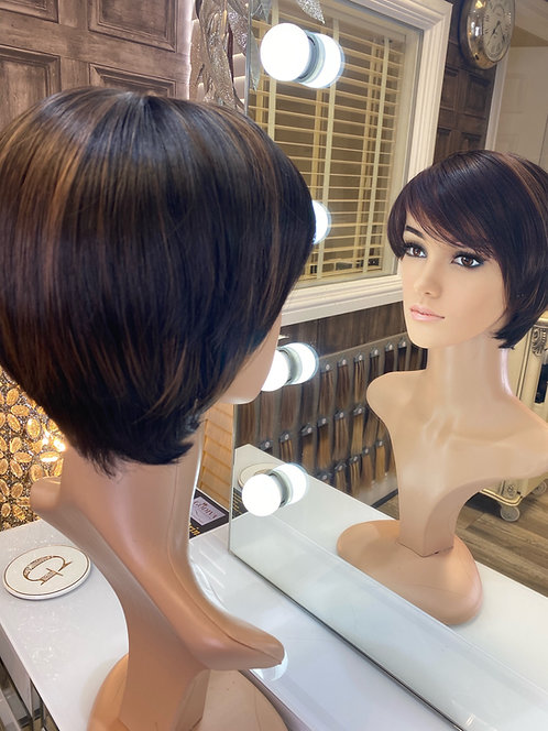 Caramel brown highlights pixie cut fibre wig