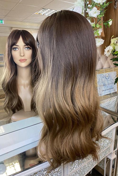 Caramel brown wavy fibre wig