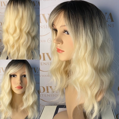 Soft blonde with dark ash root Fibre Wig