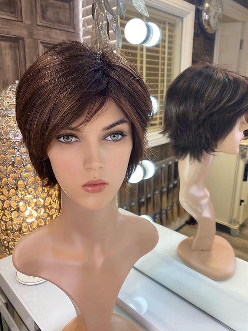 Chocolate brown wispy pixie cut fibre wig