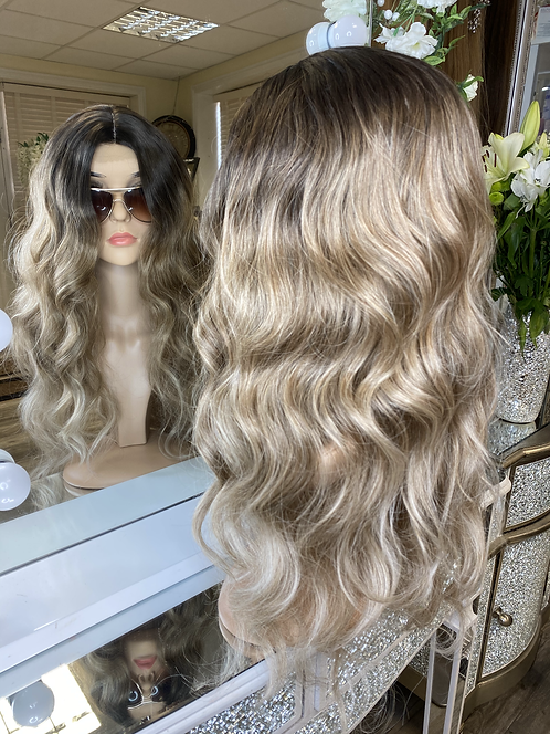 Mixed caramel browns curly fibre wig