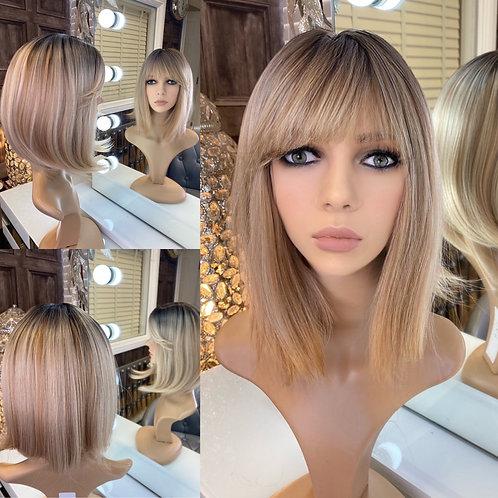 Baby Blonde Long Bobbed Human Hair Wig