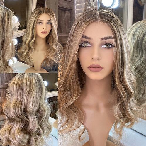 Blonde Mixed Caramel and Honey Browns Wavy Human Hair Wig