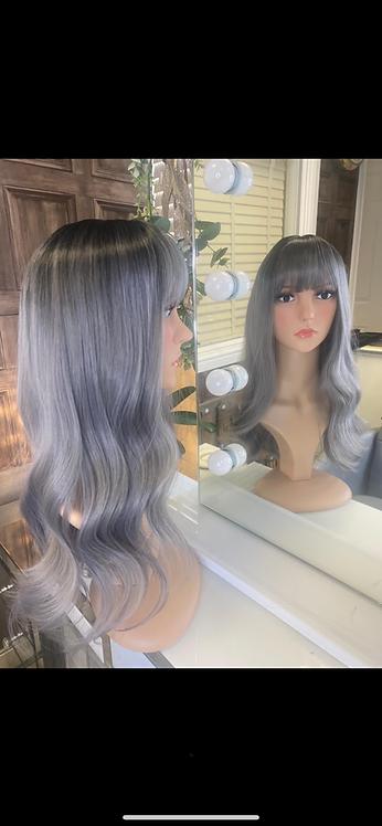 Saphire/Silver Wavy Fibre Wig
