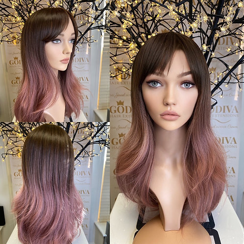 Chocolate Brown Ombré Baby Pink Fibre Wig