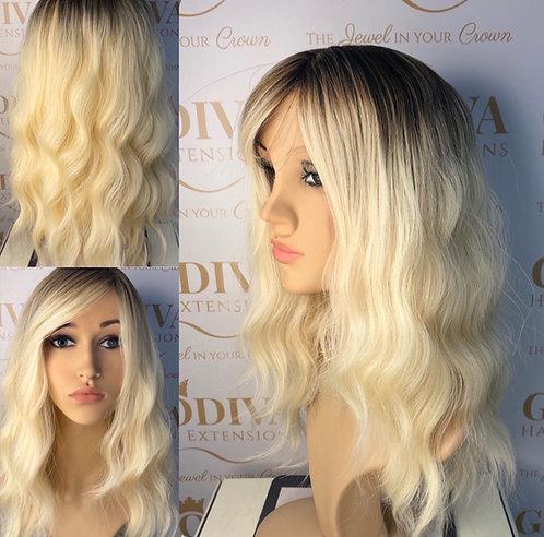 Platinum Blonde with Dark Root Stretch Wavy Fibre Wig