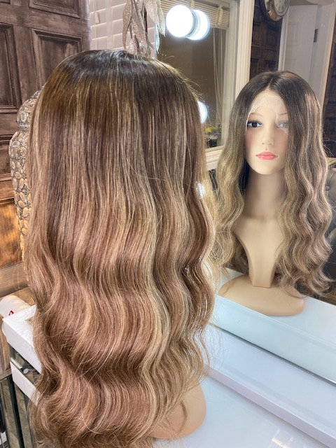 Soft brown with highlighted tones 100% Russian Human Hair Wig