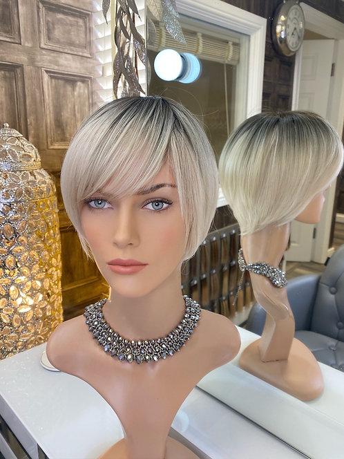 Ash Blonde Dark Root Pixie Fibre Wig