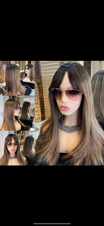 Mixed Brown with Dark Roots Synthetic Wig