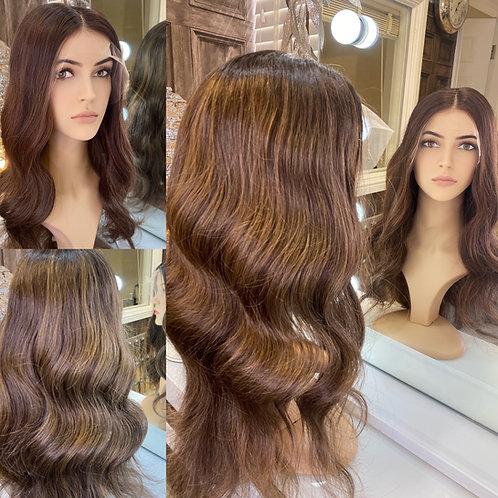 Chestnut Brown Wavy Human Hair Wig