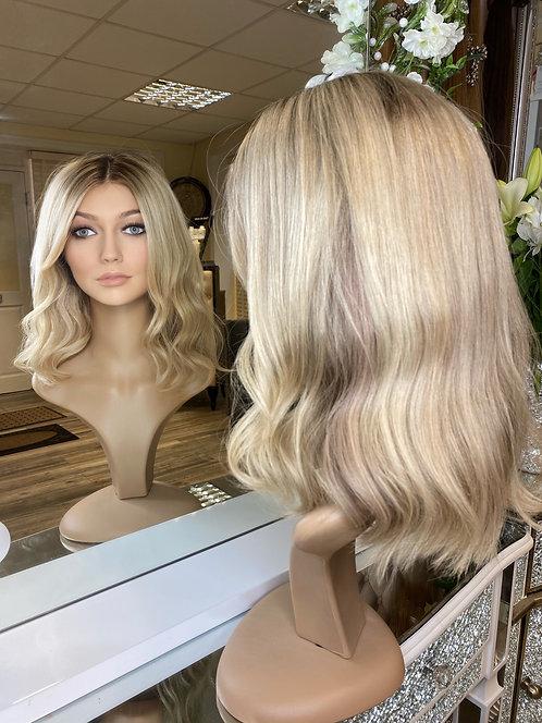 Platinum blonde with root stretch fibre wig