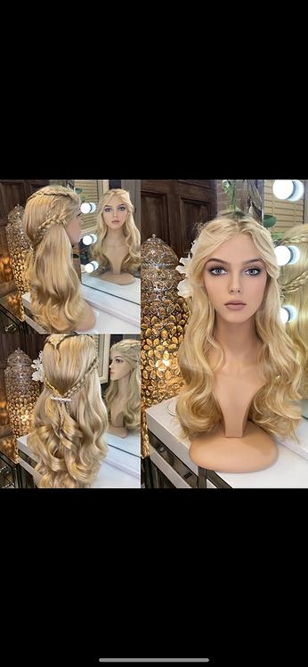 Golden Blonde Braided Wavy Fibre Wig