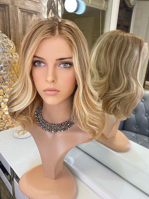 Golden Blonde Highlights Wavy 100% Russian Hair Wig