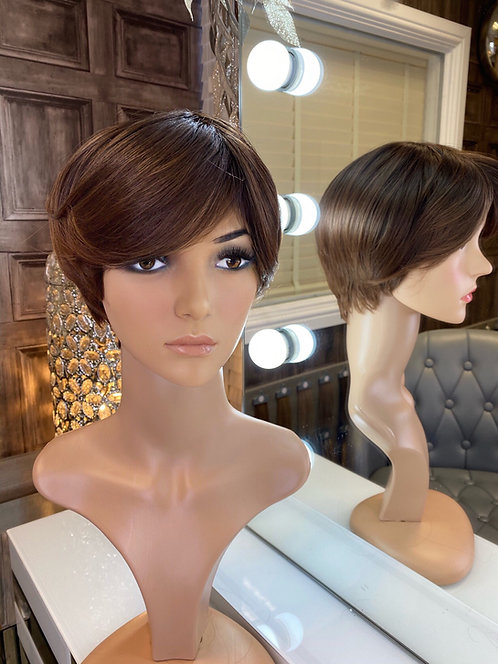 Chocolate Brown Pixie Cut Fibre Wig