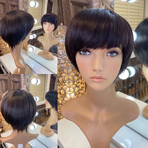 Dark Brown Pixie Cut Fibre Wig