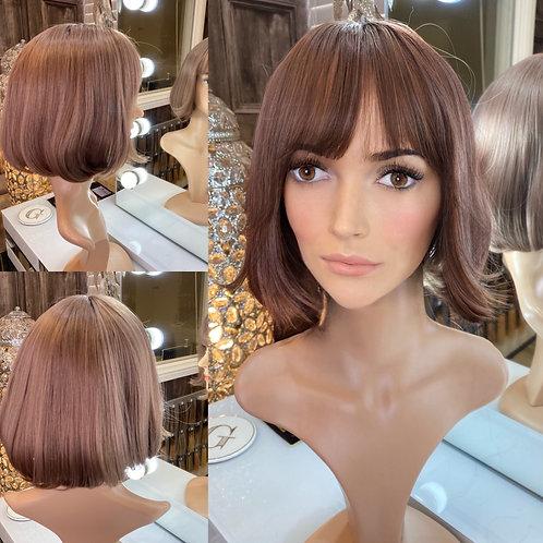 Copper Rose Gold Bobbed Fibre Wig