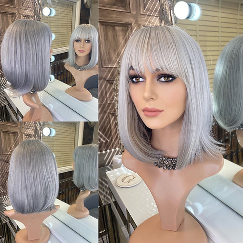 Silver Bobbed Fibre Wig