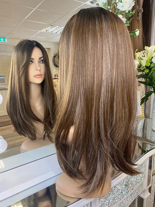 Honey brown with caramel highlights fibre wig