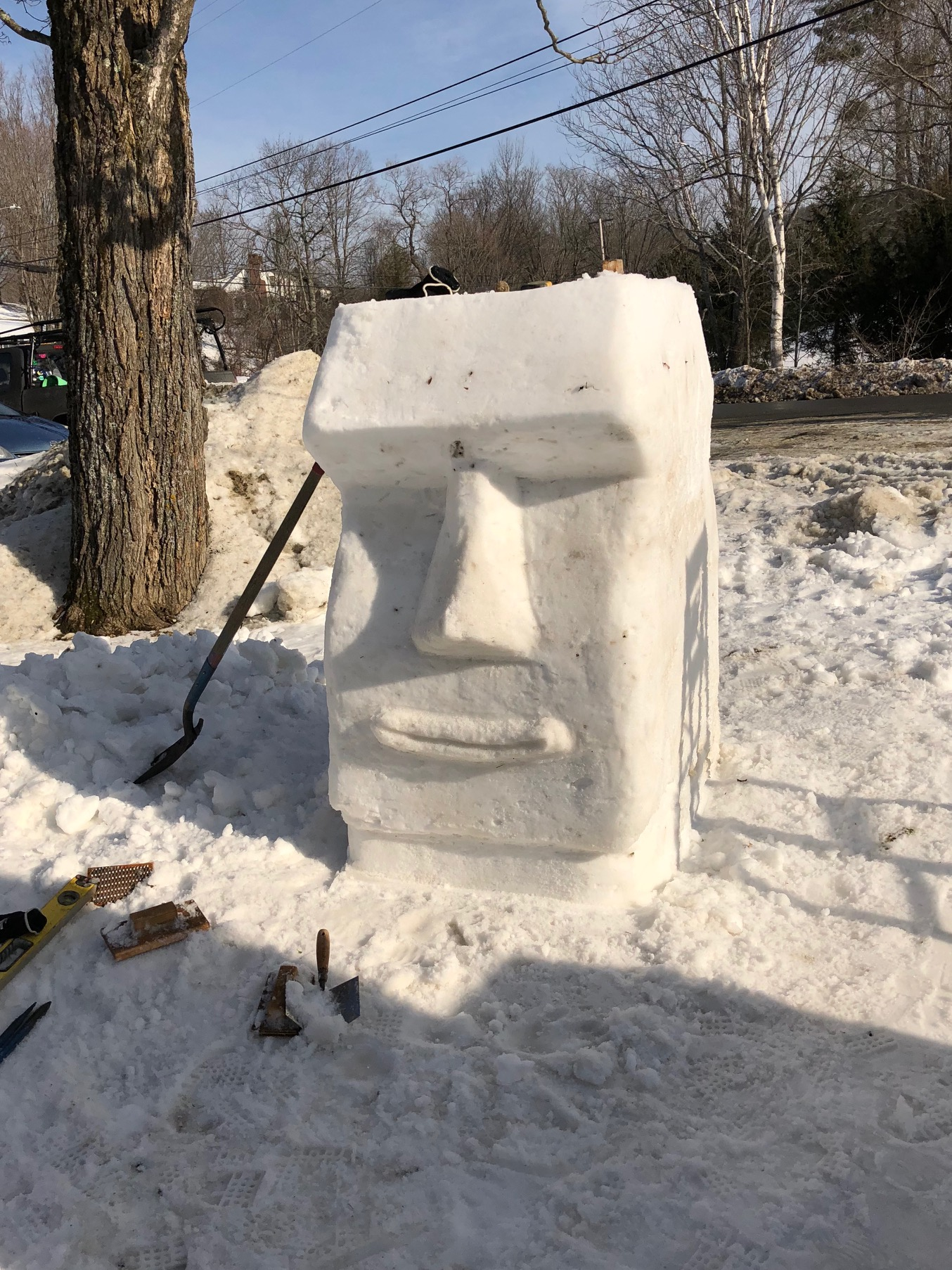 Easter Island Snow Sculpture