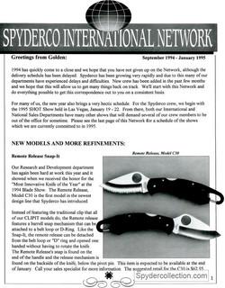 Spyderco newsletter Sep 1994 Jan 1995