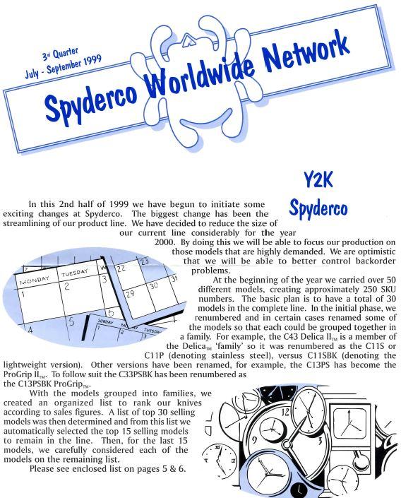 Spyderco newsletter Jul Sept 1999