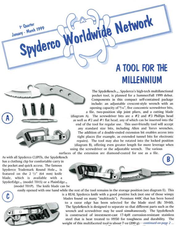 Spyderco newsletter Jan March 1999