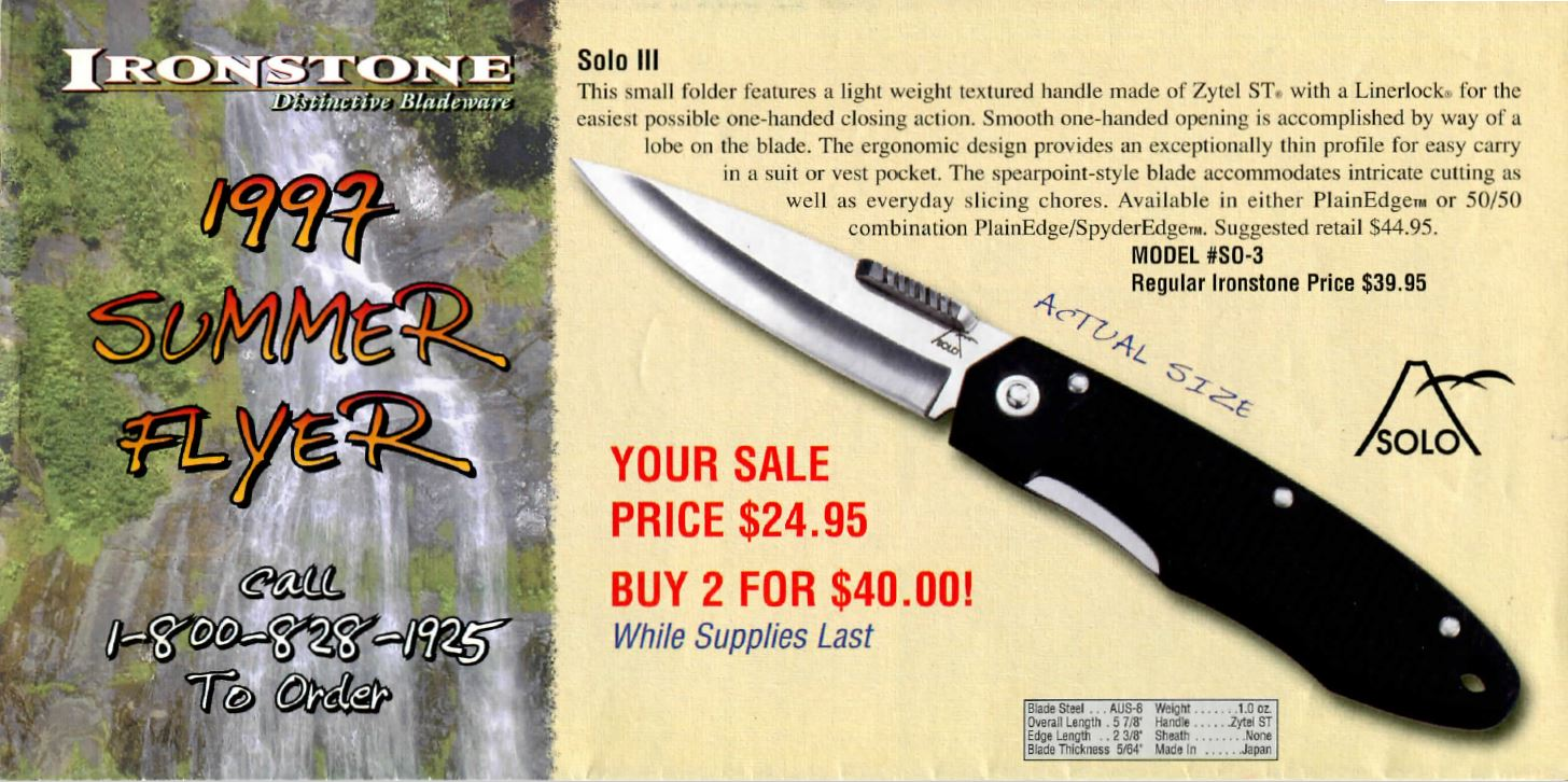 Ironstone 1997 summer flyer