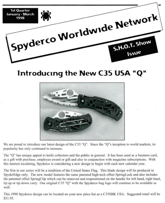Spyderco newsletter Jan Mar 1998