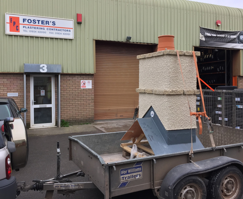 GRP chimney rendered off site ready for installation