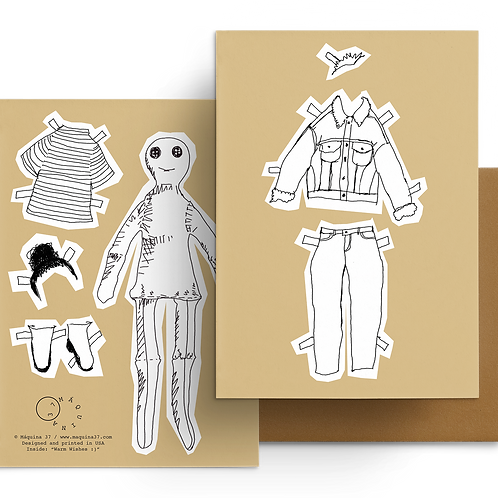Paper Doll Greeting Card Warm Wishes