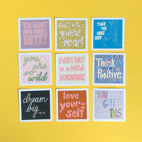 Pack of 9 Stickers Think Positive