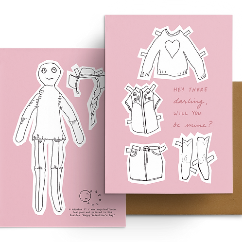 Paper Doll Greeting Card Happy Valentine's Day Pink