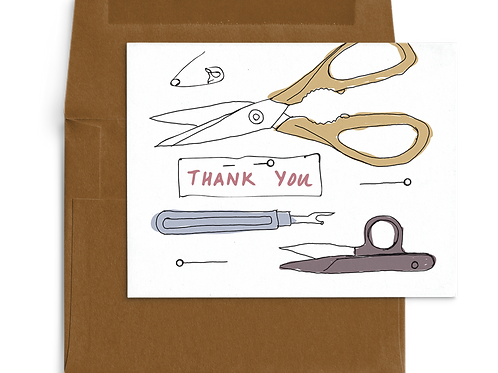 Thank You Card Sewing Themed Sharp Things