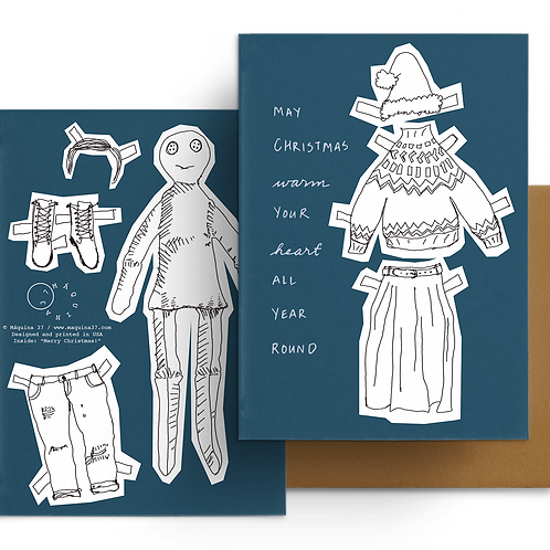 Paper Doll Greeting Card Merry Christmas