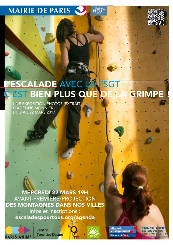 """Soirée spéciale FSGT """"Des montagnes dans nos villes"""" - 22 mars, 19h30"""