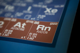 Radon on the periodic table of elements.