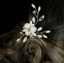Pearl and crystal hair pin