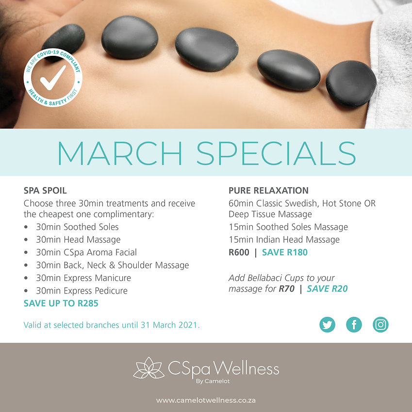 CSpa Wellness by Camelot March Specials